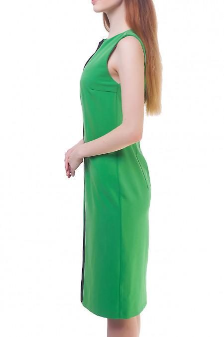 Качественный зеленый сарафан со вставками