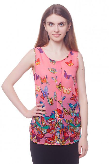 Топ розовый в разноцветные бабочки. Деловая женская одежда