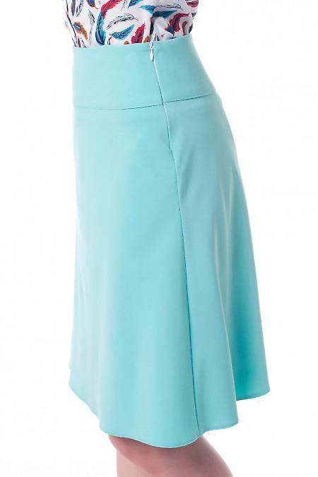Бирюзовая юбка трапеция вид сбоку