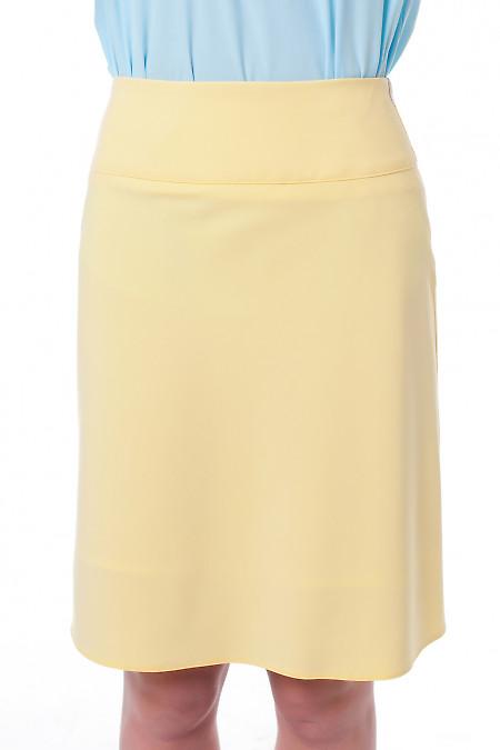Юбка-трапеция желтая. Деловая женская одежда фото