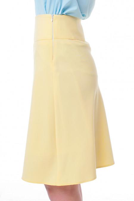 Купить юбку-трапецию желтую Деловая женская одежда фото