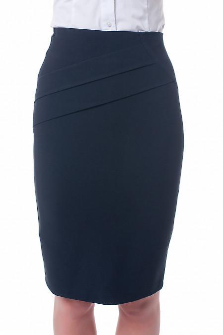 Юбка черная с горизонтальными складками. Деловая женская одежда