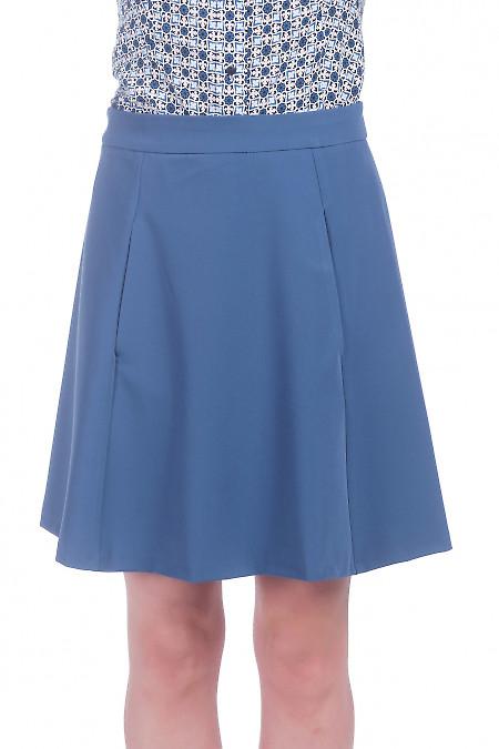 Юбка коротка с карманами синяя. Деловая женская одежда фото