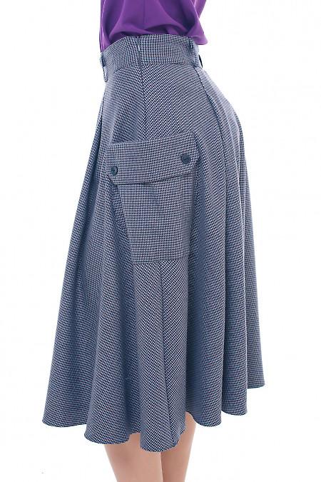 Купить серую юбку с накладными карманами Деловая женская одежда фото