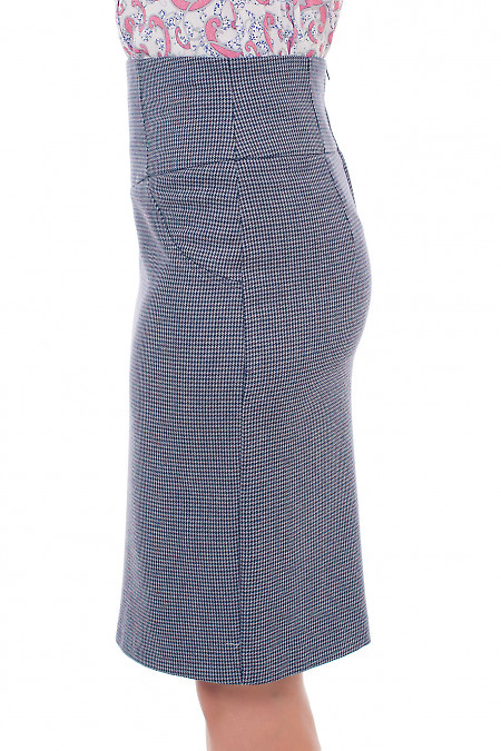 Купить серую юбку в бордовую лапку Деловая женская одежда фото