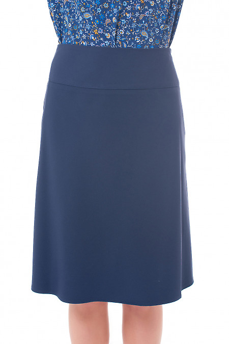 Юбка синяя на кокетке Деловая женская одежда фото