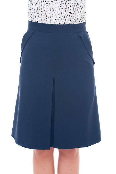 Юбка синяя с клапанами на карманах. Деловая женская одежда