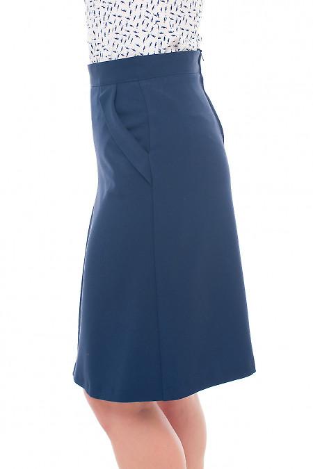Теплая юбка-трапеция синего цвета