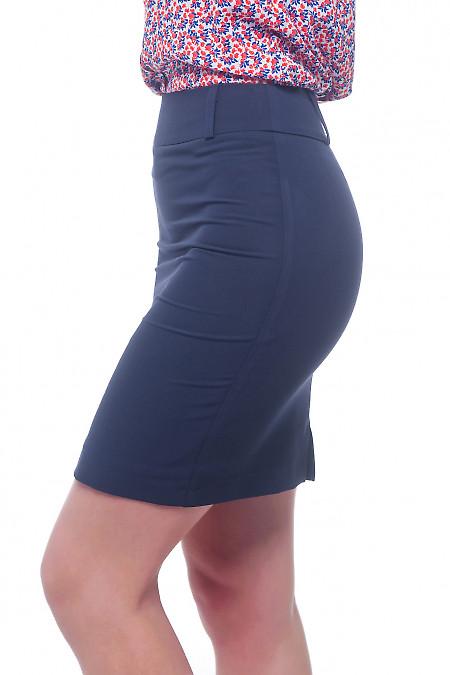 Купить юбку синюю со шлевками на поясе Деловая женская одежда фото