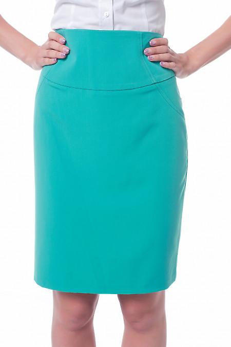 Юбка бирюзовая с высокой талией Деловая женская одежда фото