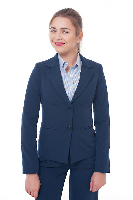 Фото Жакет темно-синий с длинным рукавом Деловая женская одежда