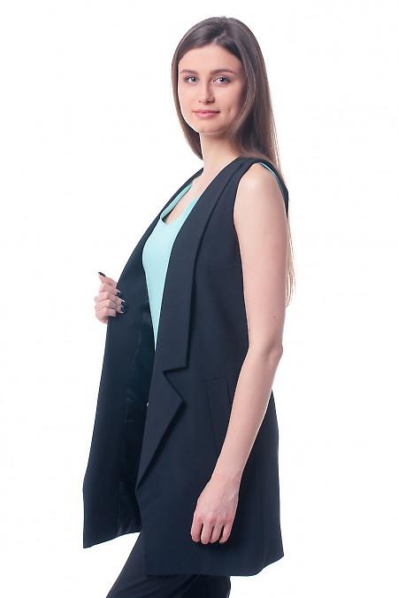 Купить жилет черный женский удлиненный Деловая женская одежда фото