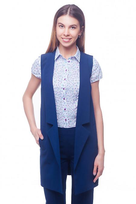 Жилет синий удлиненный с карманами. Деловая женская одежда