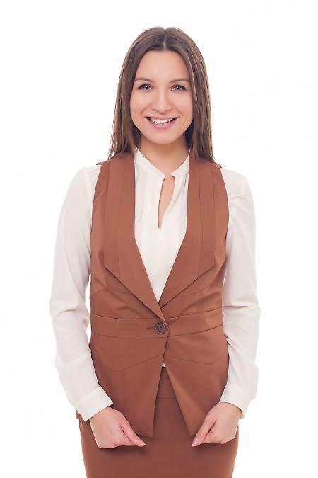 Жилет женский коричневый удлиненный. Деловая женская одежда