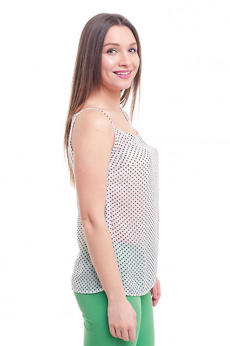 Купить белый топ в горошек на тонких бретелях Деловая женская одежда фото