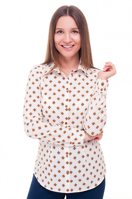 Блузка белая в коричневый ромбик Деловая женская одежда фото