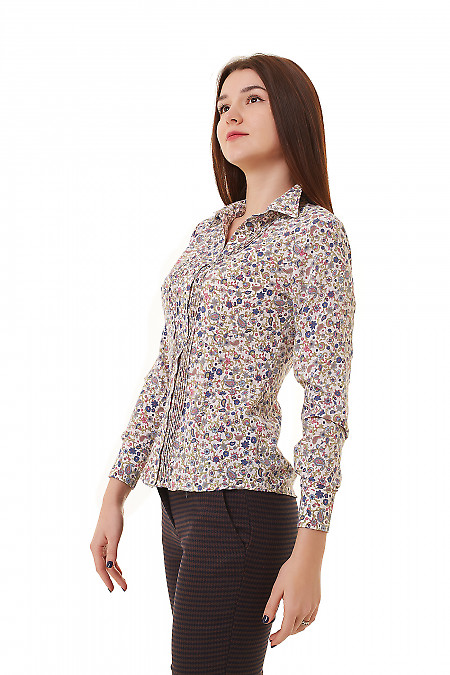 Купить блузку белую в сине-зеленые цветочки Деловая женская одежда фото