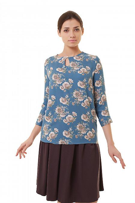 Блузка бирюзовая из крепа. Деловая женская одежда фото