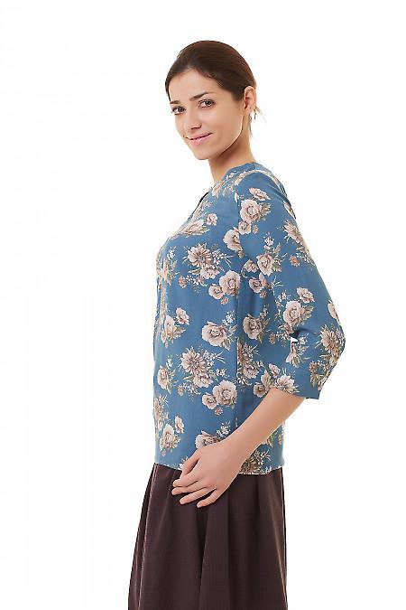 Бирюзовая блузка из софта в цветы