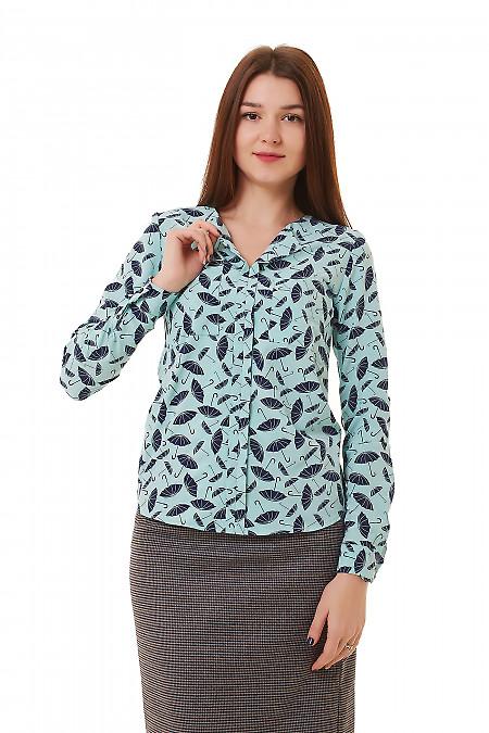 Блузка бирюзовая в синие зонтики. Деловая женская одежда