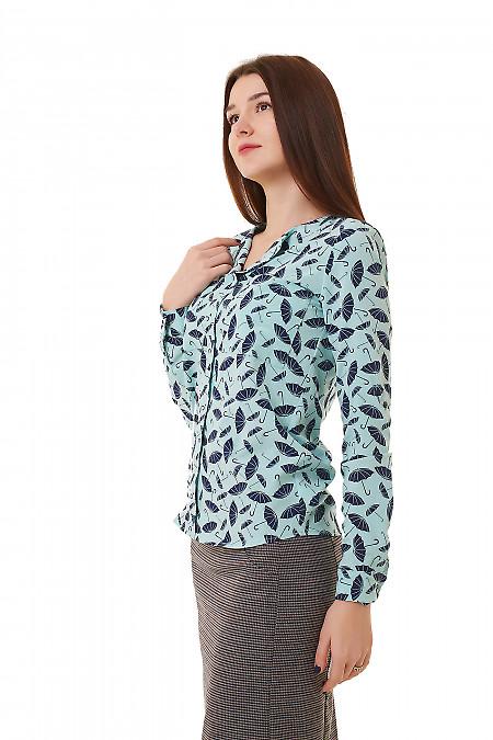 Купить блузку бирюзовую в синие зонтики Деловая женская одежда фото