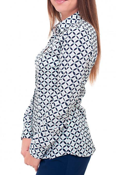 Купить блузку в бирюзово-синий принт Деловая женская одежда фото