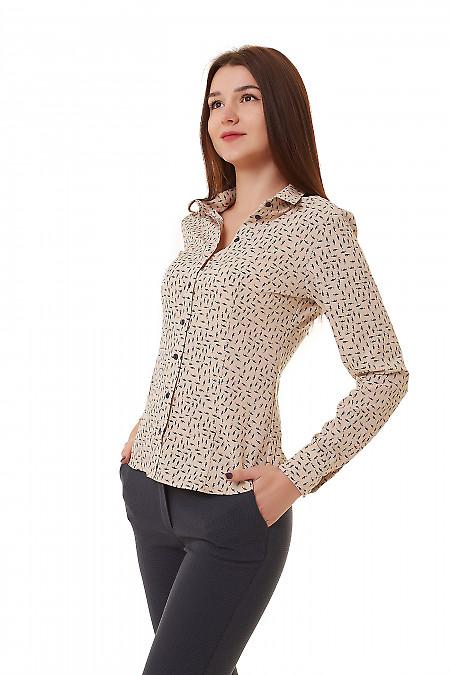 Купить блузку кофейную в синий узор Деловая женская одежда фото