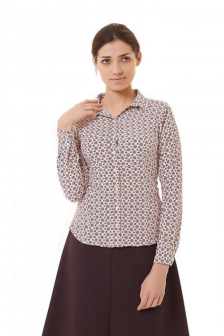 Блузка с планкой белая в коралловые узор Деловая женская одежда фото