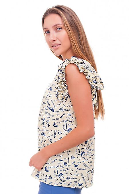 Купить блузку желтую в синие буквы Деловая женская одежда фото