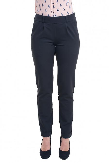 Чёрные брюки зауженные на резинке Деловая женская одежда