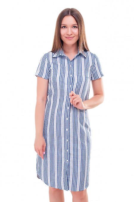 Платье-рубашка в синюю клетку. Деловая женская одежда фото