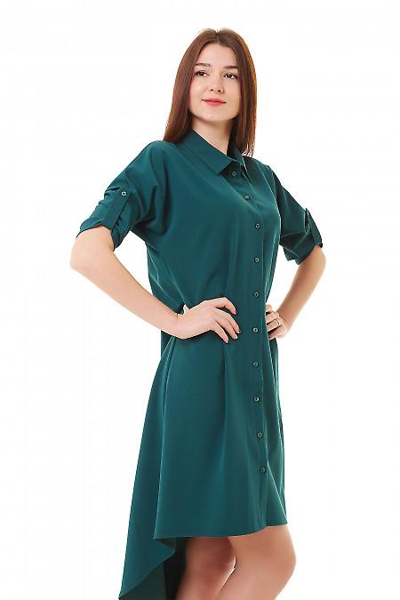 Купить платье-сафари зеленое с удлиненной спинкой Деловая женская одежда фото