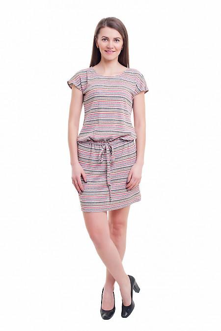 Купить платье полосатое трикотажное с кулисой Деловая женская одежда фото