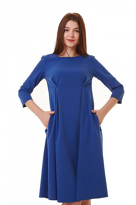 Платье синее с двумя защипами на талии Деловая женская одежда фото