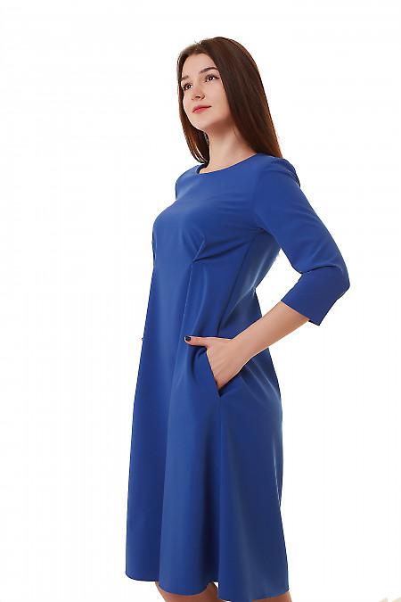 Купить платье синее с двумя защипами на талии Деловая женская одежда фото