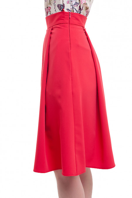 Купить пышную красную юбку миди Деловая женская одежда фото