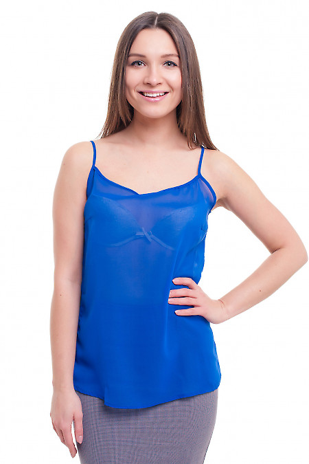 Топ синий на тонких бретелях. Деловая женская одежда фото
