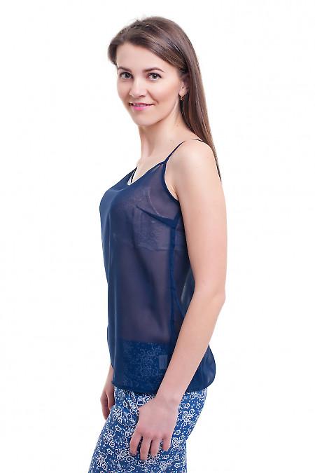 Купить топ темно-синий на тонких бретелях Деловая женская одежда фото