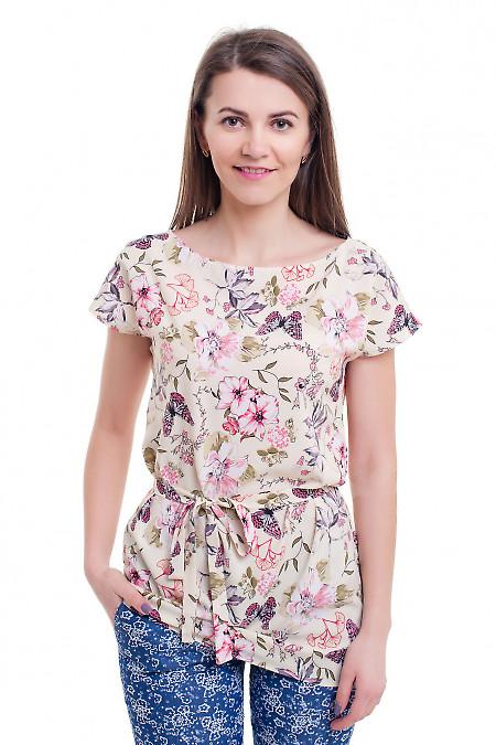Туника молочная в цветы с поясом. Деловая женская одежда