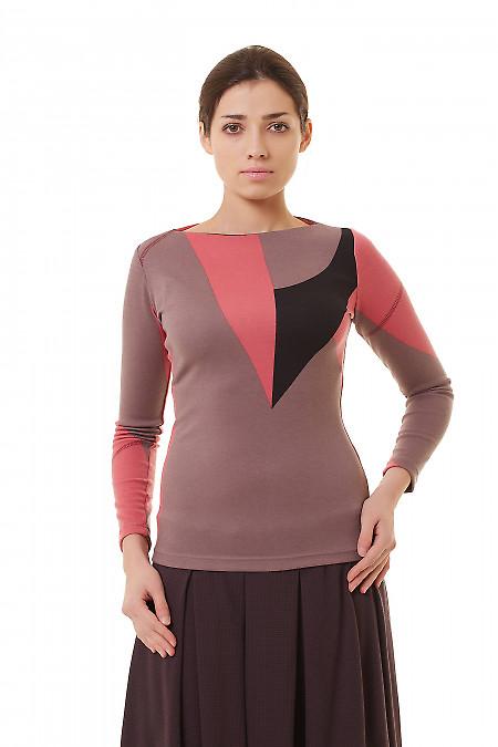 Туника розовая с черным. Деловая женская одежда фото