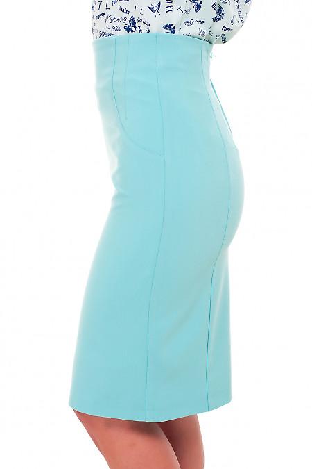 Бирюзовая юбка с высокой талией