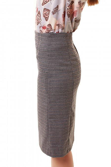 Купить юбку-карандаш в коричнево-серую лапку Деловая женская одежда фото