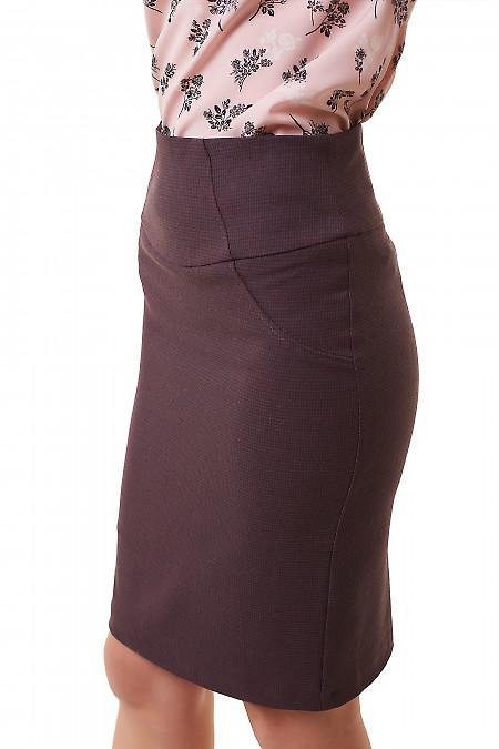 Купить юбку бордовую в черную лапку Деловая женская одежда фото