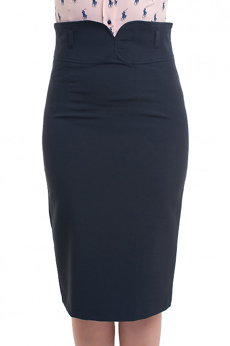 Юбка чёрная с заокругленным поясом Деловая женская одежда