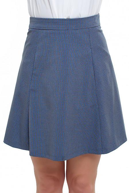Юбка в мелкую синюю клеточку с карманами Деловая женская одежда фото