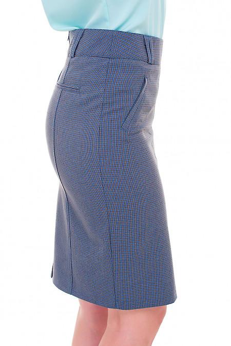 Купить юбку в синюю мелкую лапку Деловая женская одежда фото