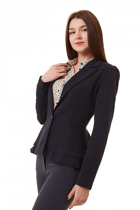 Купить жакет синий женский с баской Деловая женская одежда фото