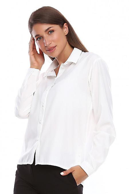 Блузка белая с пуговицами по бокам. Деловая женская одежда фото
