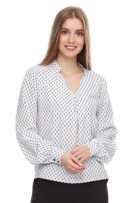 Купить блузку в черные ромбы. Деловая женская одежда фото