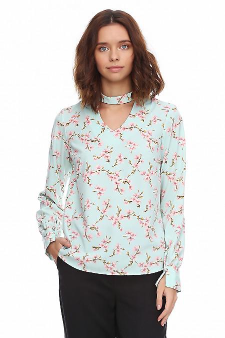 Купить блузку бирюзовую со стойкой на пуговичке. Деловая женская одежда фото